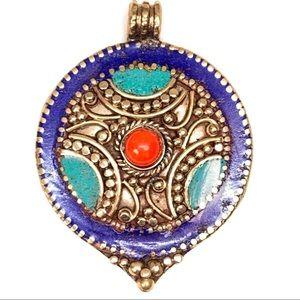 Jewelry - 95 Crt Turquoise and Lapis Lazuli Nepali Pendant